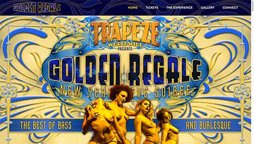 Trapeze Worldwide's Golden Regale NYE 2016 - Website designed and built by National Revue