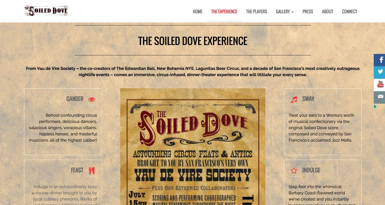 The Soiled Dove website designed and built by National Revue
