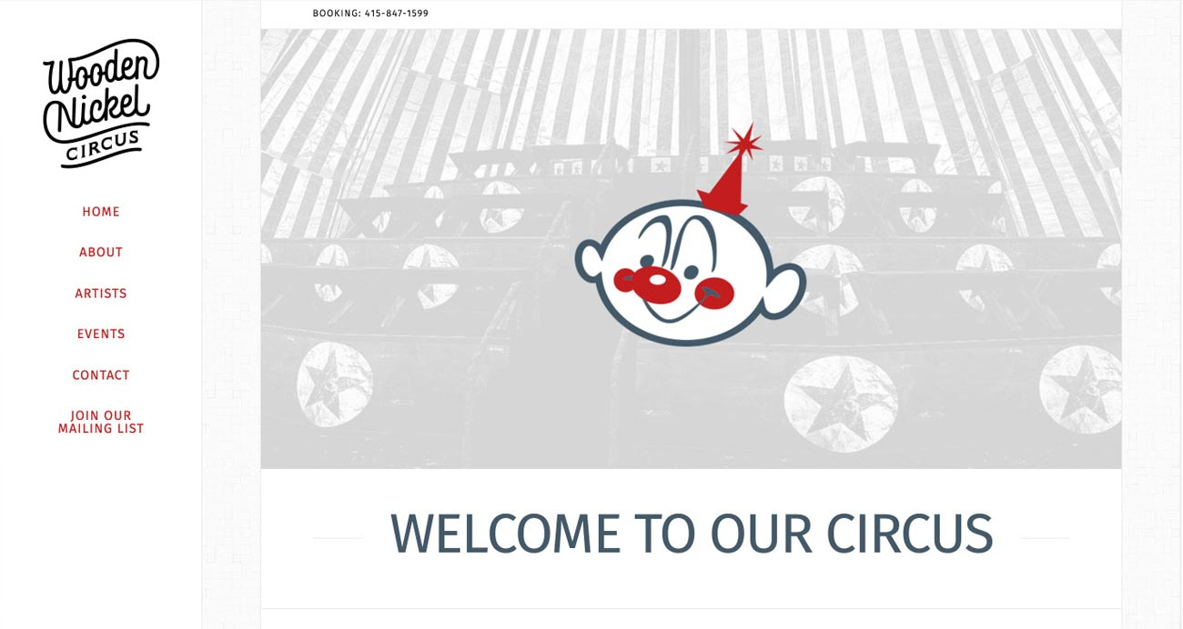 Wooden Nickel Circus website designed and built by National Revue