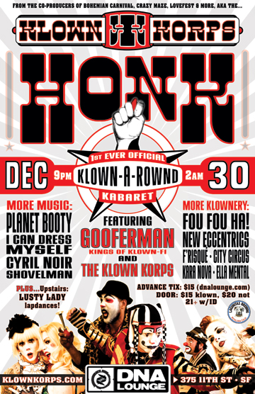 Klown Korps Honk Flyer poster designed and built by National Revue