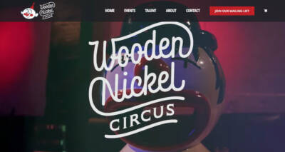 Wooden Nickel Circus website designed and developed by The National Revue