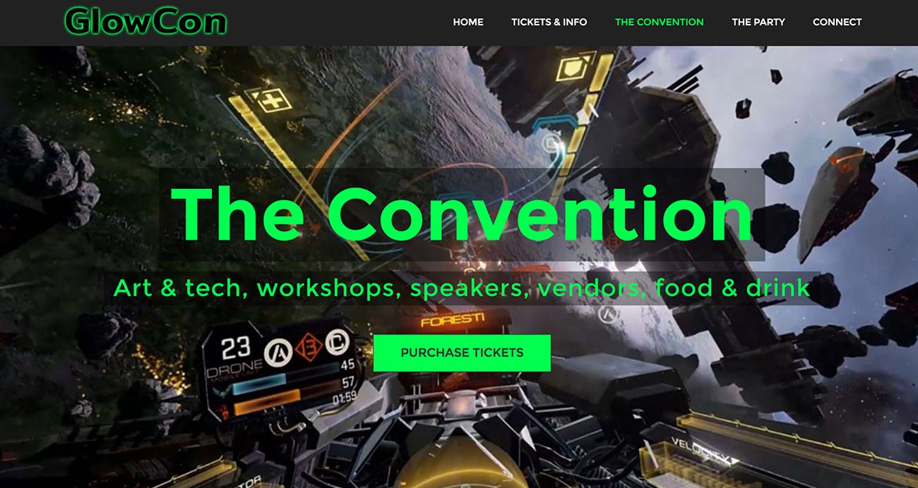 GlowCon website designed and built by National Revue