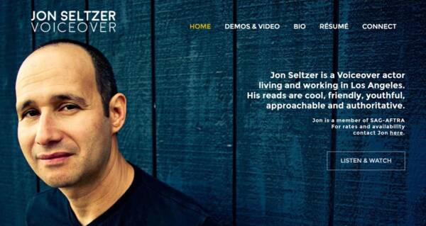 Jon Seltzer VO website - Designed & built by The National Revue
