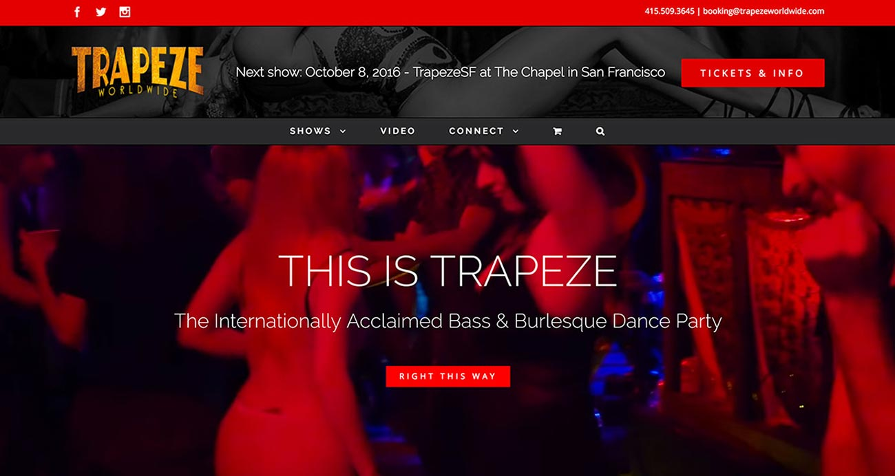 Trapeze Worldwide website - Designed & built by The National Revue