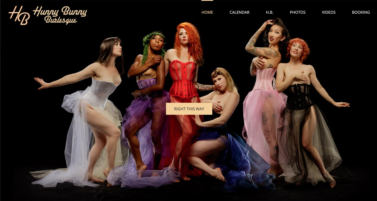 Hunny Bunny Burlesque website - Designed & built by The National Revue