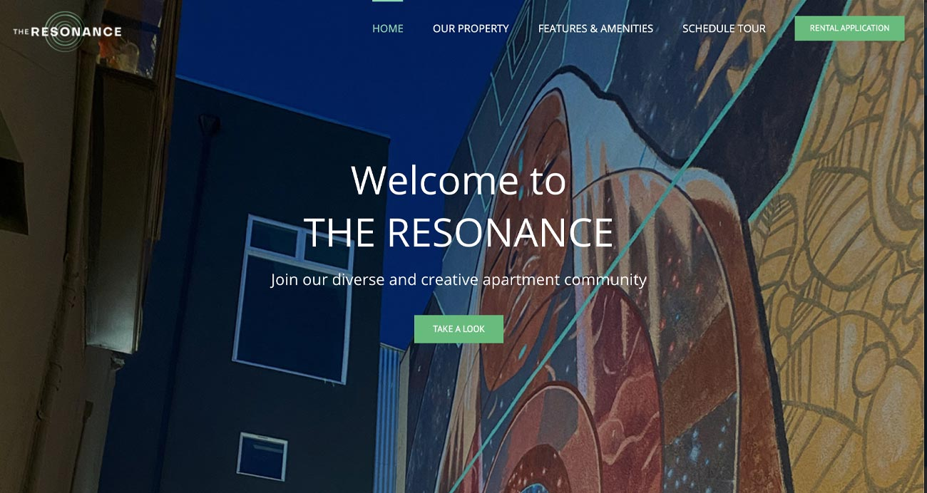 Resonance Oakland website - Designed & built by The National Revue